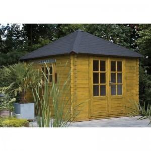 Blokhut met een vierhoekig dak