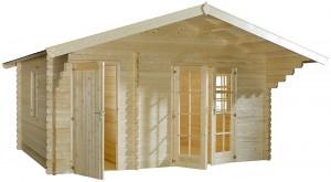 Een tuinhuis/ blokhut met een zadeldak, maar zonder dakgoot!