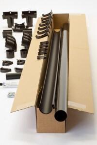Een complete dakgoot set in het Extra 100 model in één doos.