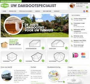 Screenshot van de webshop van Eslon, www.uw-dakgootspecialist.nl